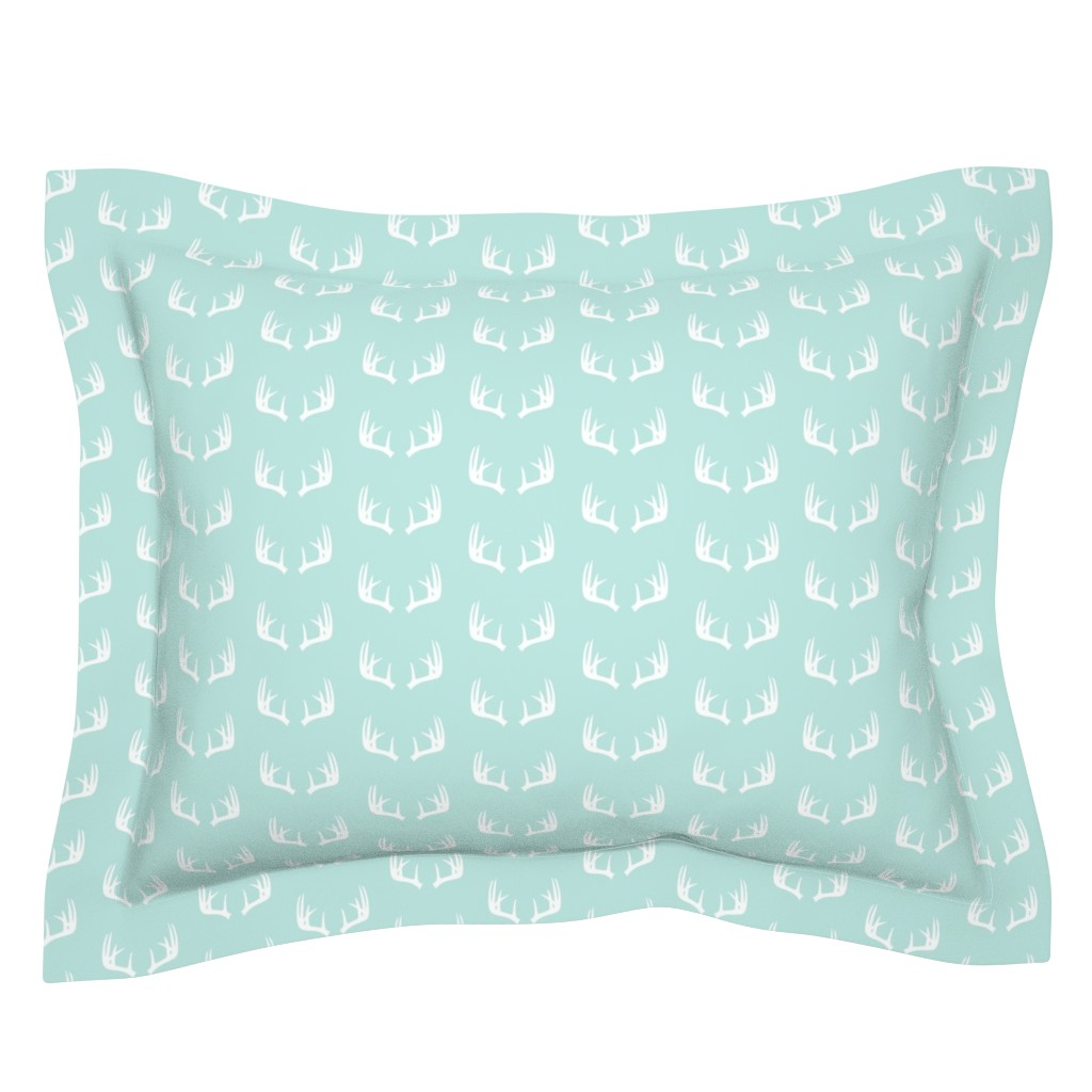 Sebright Pillow Sham featuring antlers (small scale) paramour blue || the bear creek collection by littlearrowdesign
