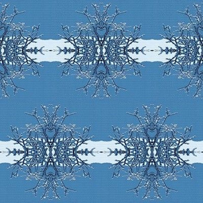 Scandi Abstract Snowflake Stripe in Blue and White