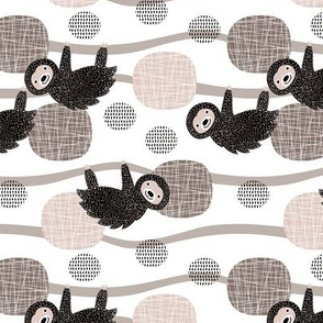 Adorable little baby sloth print jungle trees pura vida collection gender neutral beige black and white