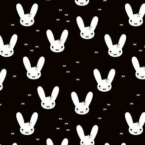 Super cute baby bunny sweet bow rabbit illustration print for kids black and white