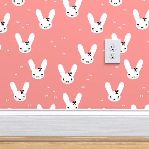 Super Cute Baby Bunny Sweet Bow Rabbit I Spoonflower