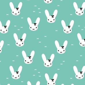 Super cute baby bunny sweet bow rabbit illustration print for kids mint fall