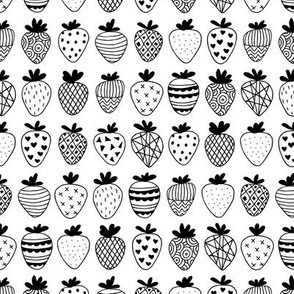 Farmers market summer strawberry fruit hearts print black and white