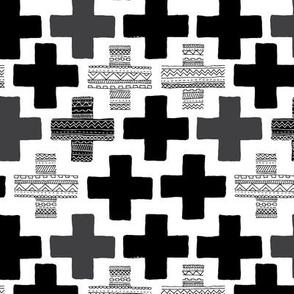 Plus plus cross geometric modern patterns black and white