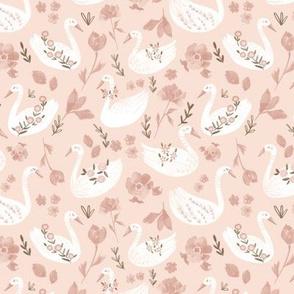 Baby pink swans/ Nuresery girls fabric/ Light pink animal swans/ flower swans fabric