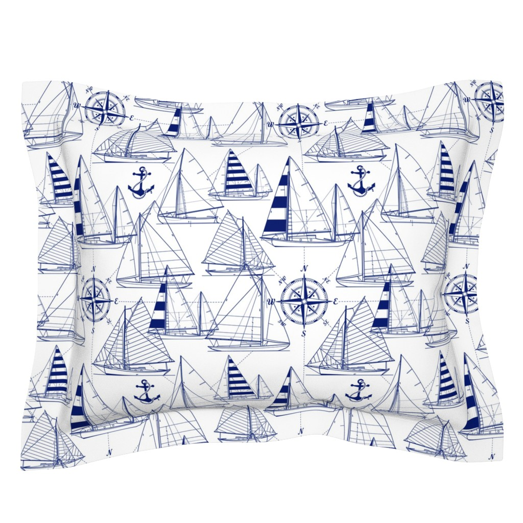 Sebright Pillow Sham featuring sailboats - navy on white by mirabelleprint