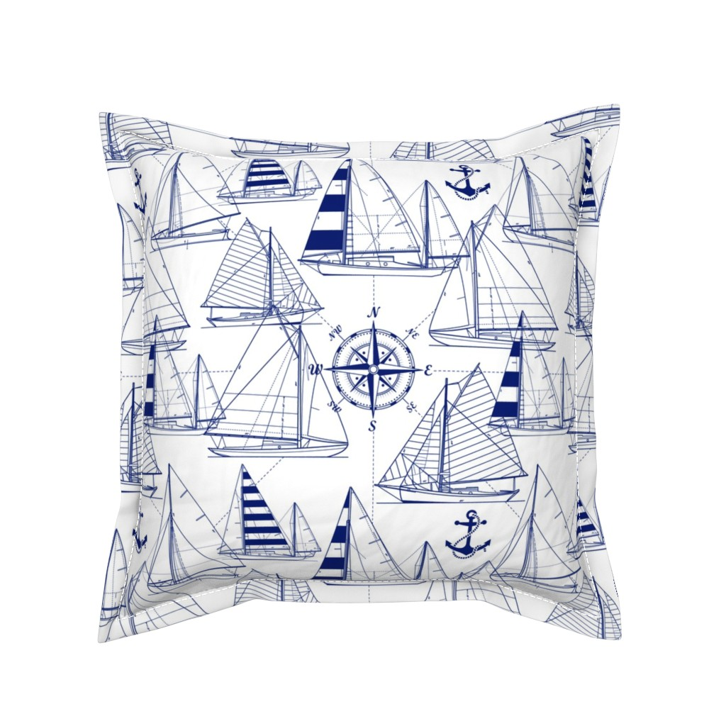 Serama Throw Pillow featuring sailboats - navy on white by mirabelleprint