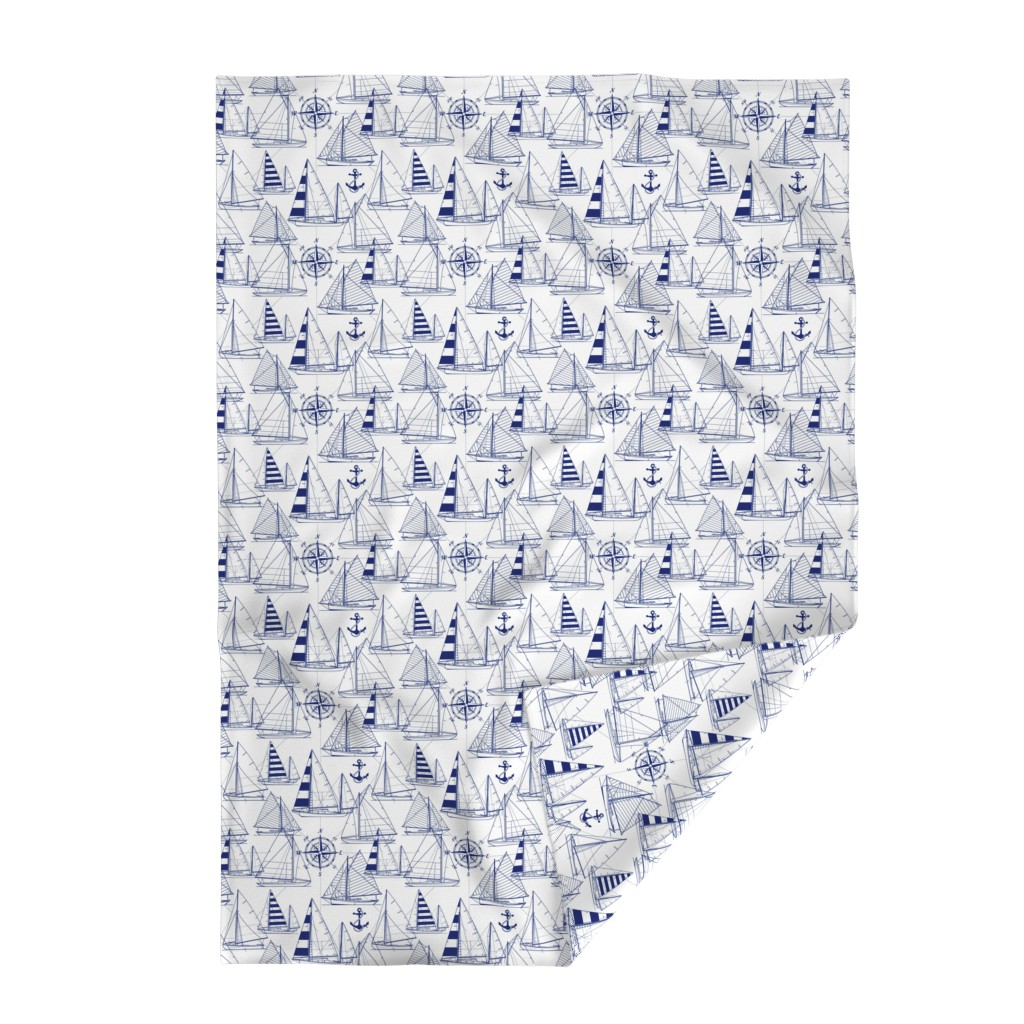 Lakenvelder Throw Blanket featuring sailboats - navy on white by mirabelleprint