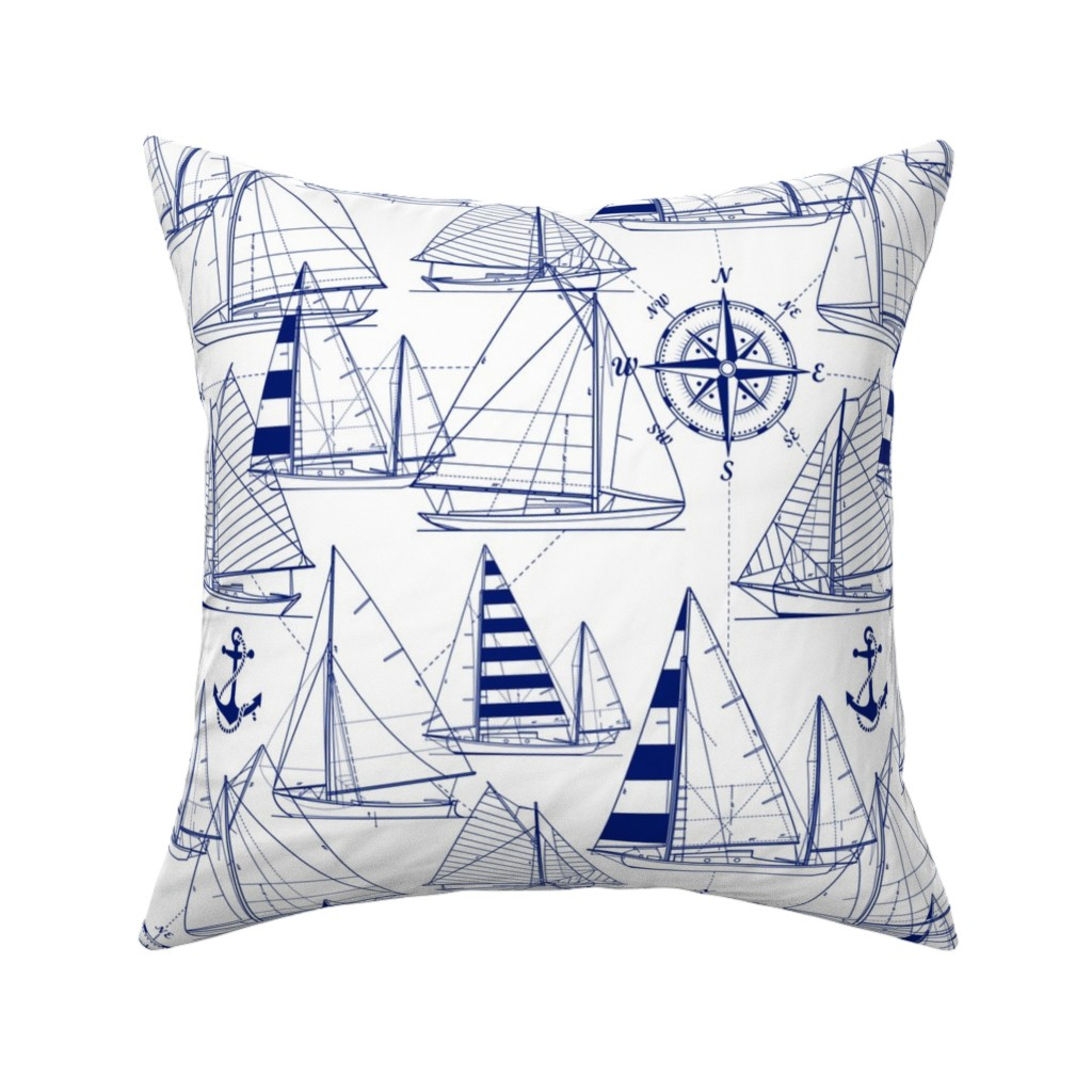 Catalan Throw Pillow featuring sailboats - navy on white by mirabelleprint