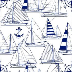 Sailboats Dark Blue White Meduim Scale