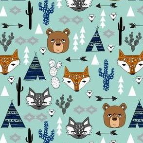 southwest baby // mint southwest animals kids nursery tipi teepee cactus raccoon arrows kids baby