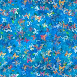 Faux Batik Butterflies Blue