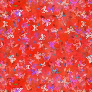 Faux Batik Butterflies Red