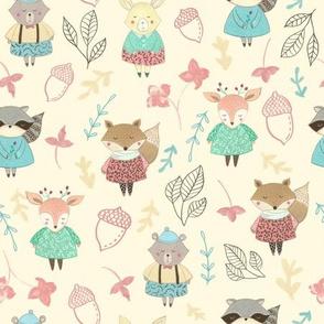 Woodland Animals / Fox Racoon Bunny/ Nursery woodland animals