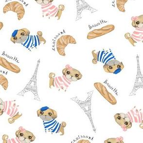 Pugs in Paris / Dog Fabric / Pug dogs fabric