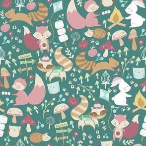 Happy Camper / Woodland campers/ Animal woodland fabric