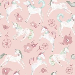 Magical Unicorns/ Pink Unicorn Fabric/ Baby nursery unicorn