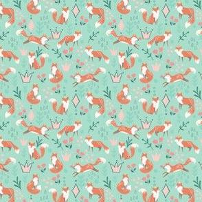 King Fox / Green fox fabric/ Nursery fox fabric