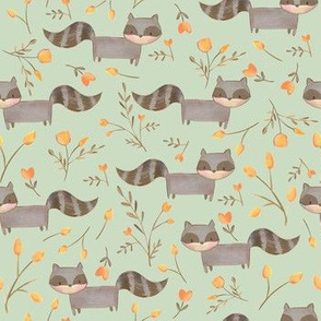 Happy Raccoons/ Woodland fabric racooons/ Nursery racoons woodland