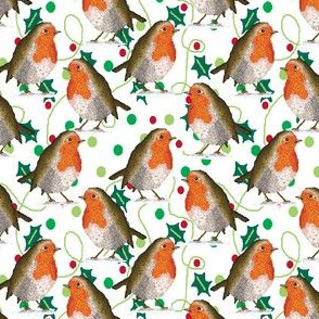 Holly leaves, dots & robins