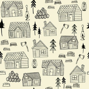 Wood cabins / Lumberjack Fabric/ Forest wood houses