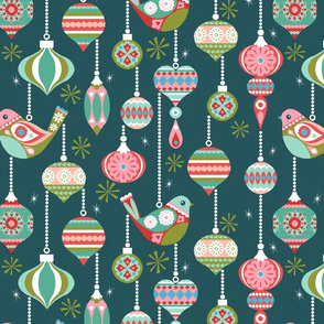 Birds and Baubles - Forest Green