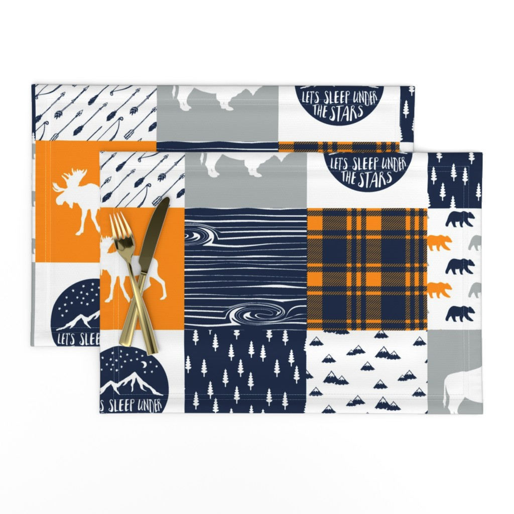 Lamona Cloth Placemats featuring the great outdoors (buffalo) wholecloth    camping quilt top by littlearrowdesign