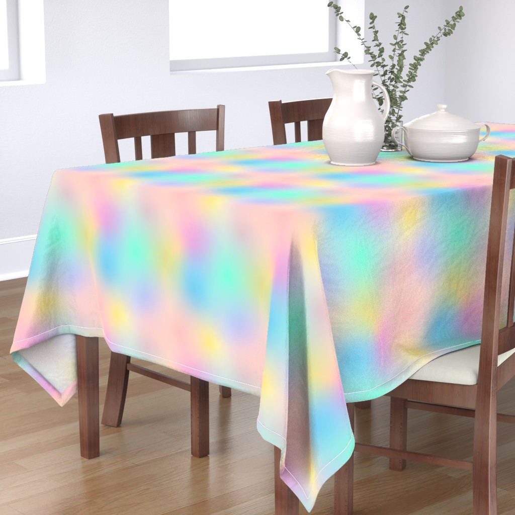Bantam Rectangular Tablecloth featuring Rainbow Ombre Pale by peppermintpeacock