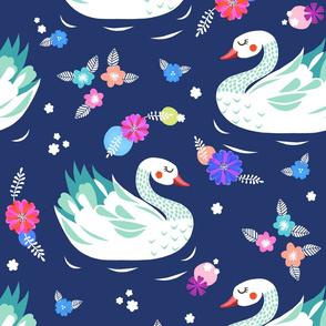 Swan Floral - Navy