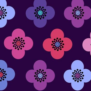 1960s flower power // bright retro flowers on purple