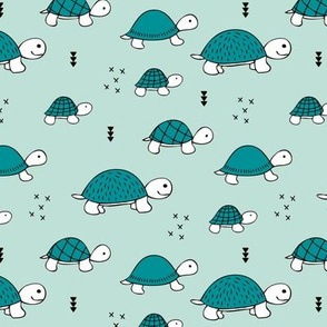 Cute baby turtle pura vida animals collection turtles  tortoise  illustration for kids mint blue