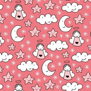 Romantic dreams and sleepy night moon clouds starts and angels for christmas pink