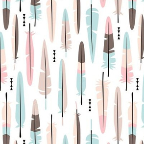 Geometric vintage feathers pastel arrows in blue and beige illustration pattern