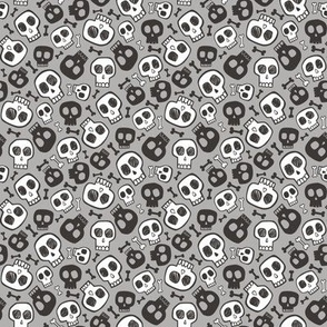 Skulls and Bones Halloween Black & White on Grey Tiny Small 0,75 inch