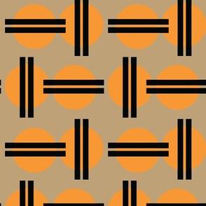 16-16C Asian Japanese Japan Graphic Sun || Orange Black Khaki  Tan _Miss Chiff Designs