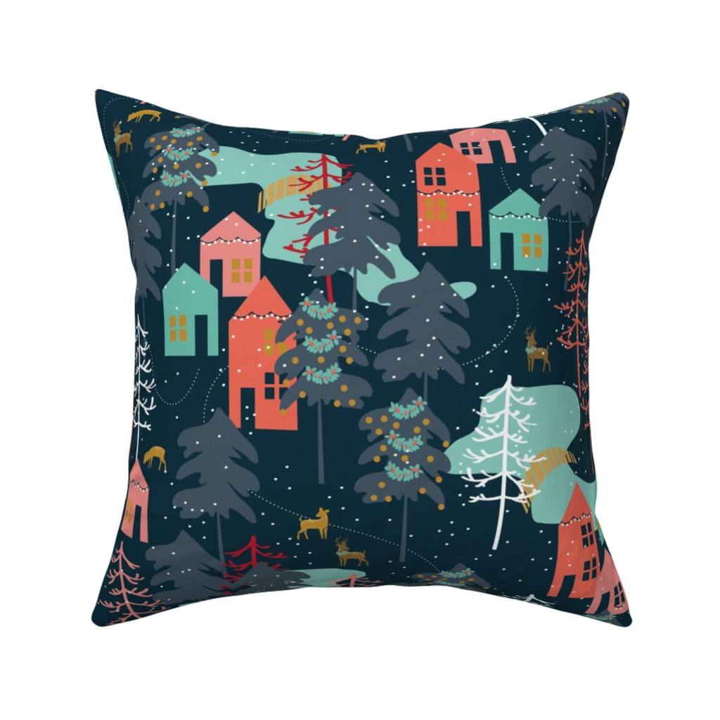 Catalan Throw Pillow featuring Family Gatherings - Large Scale by papercanoefabricshop