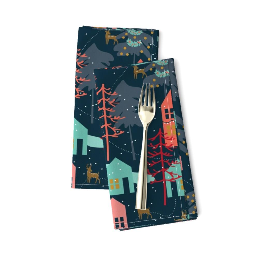 Amarela Dinner Napkins featuring Family Gatherings - Large Scale by papercanoefabricshop