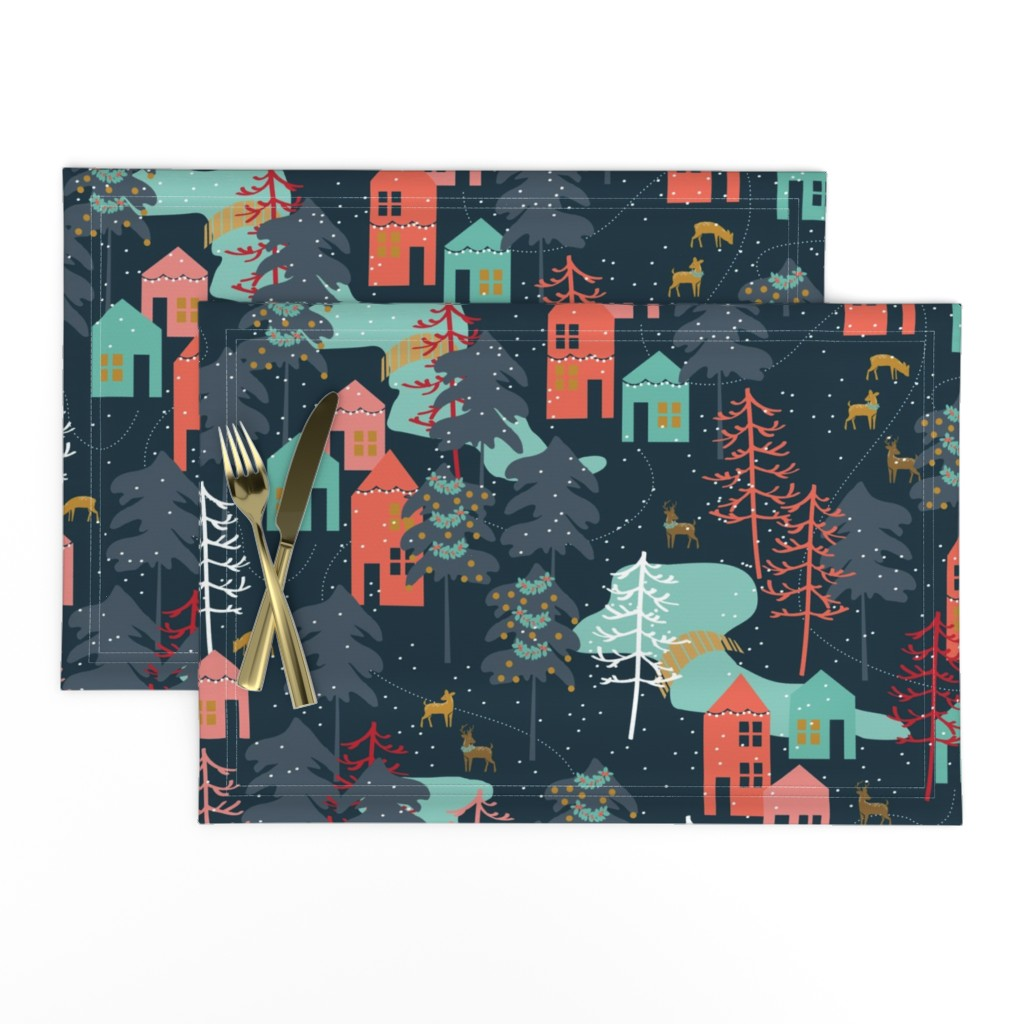 Lamona Cloth Placemats featuring Family Gatherings - Large Scale by papercanoefabricshop