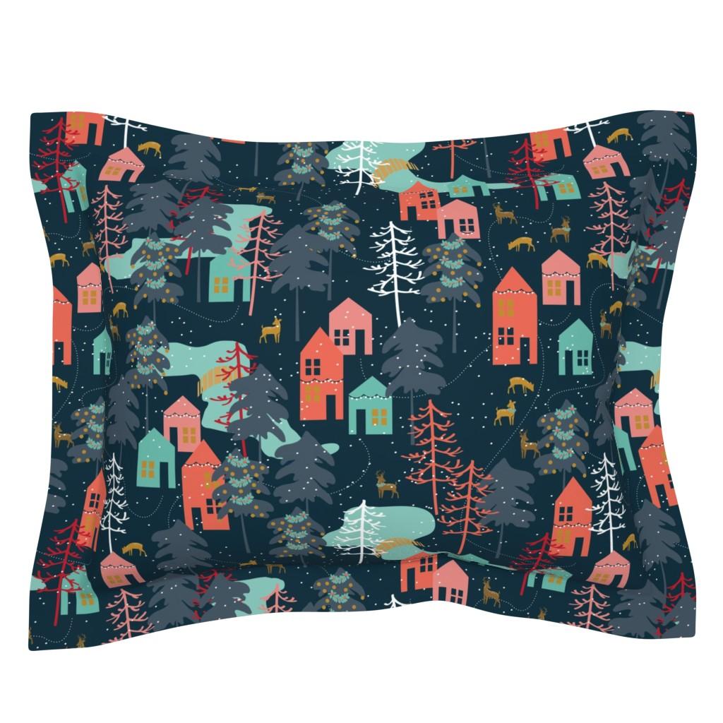 Sebright Pillow Sham featuring Family Gatherings - Large Scale by papercanoefabricshop