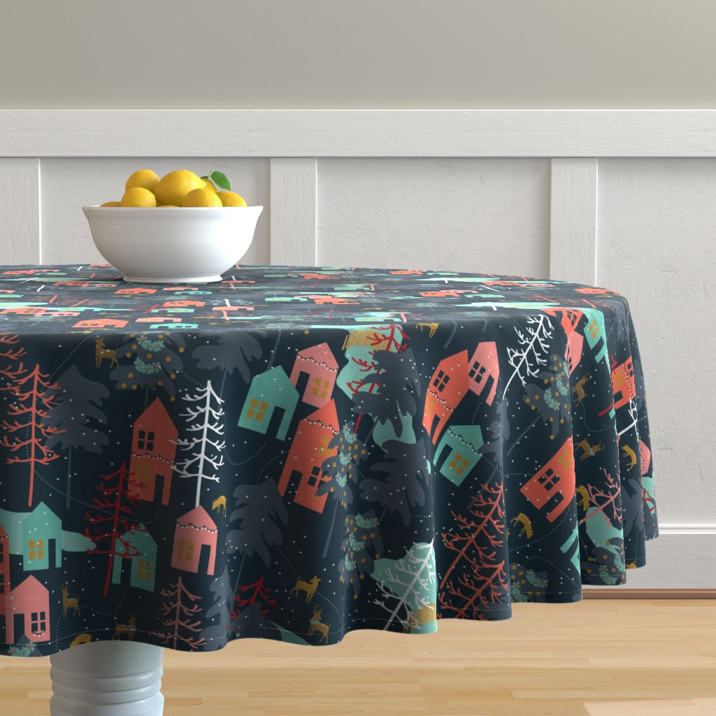Malay Round Tablecloth featuring Family Gatherings - Large Scale by papercanoefabricshop