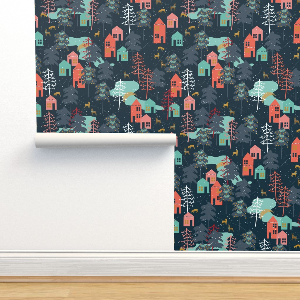 Isobar Durable Wallpaper featuring Family Gatherings - Large Scale by papercanoefabricshop