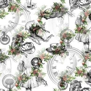 alice_in_wonderland_collage_black_on_vintage_holly_stripe