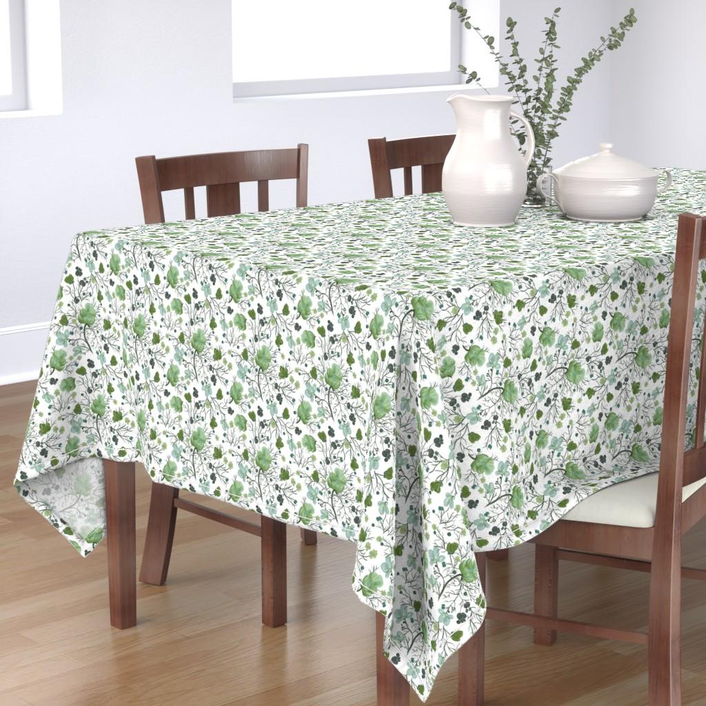 Bantam Rectangular Tablecloth featuring poppy floral - sage/snow by cinneworthington