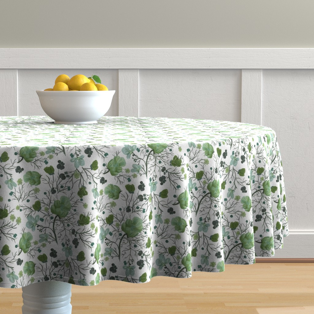 Malay Round Tablecloth featuring poppy floral - sage/snow by cinneworthington