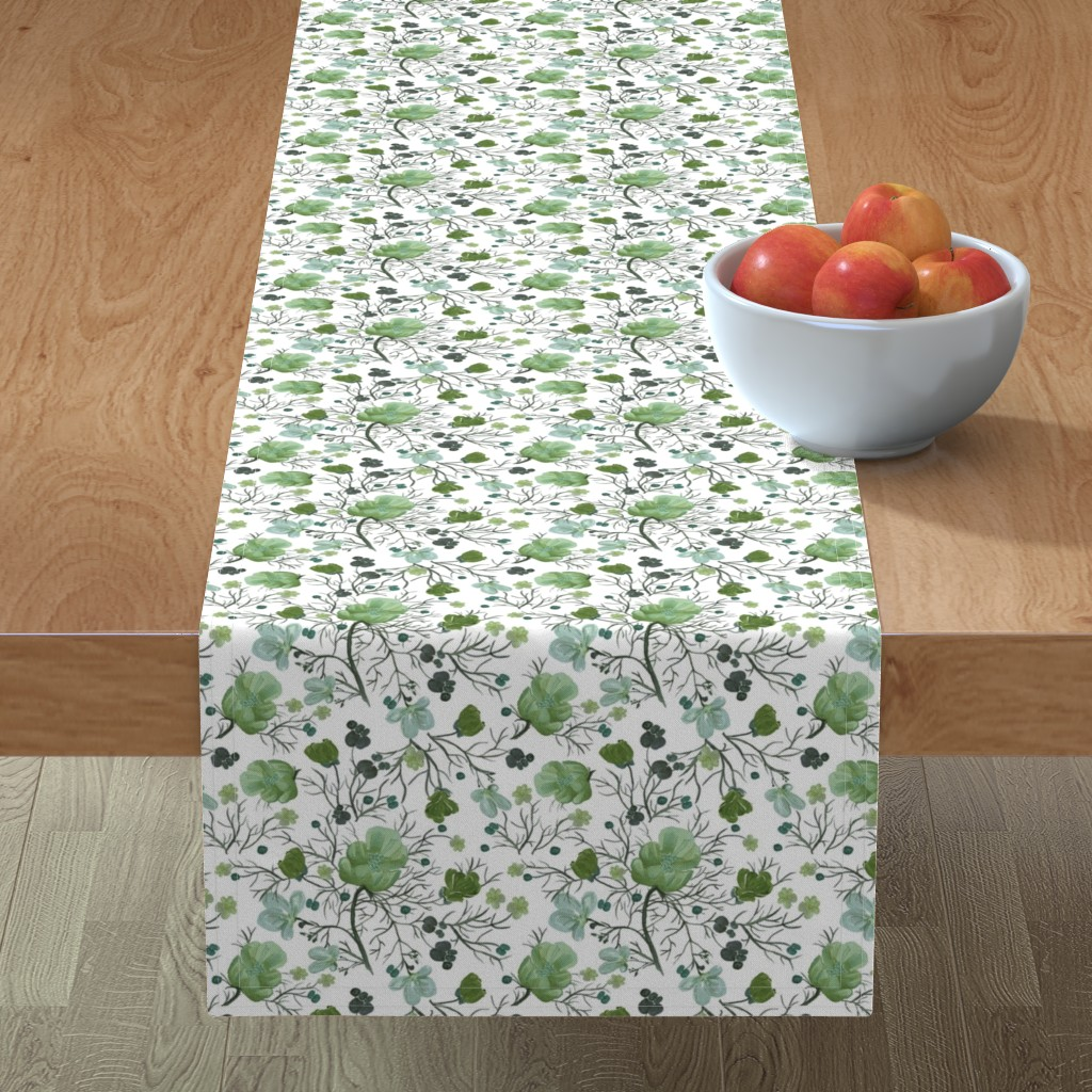 Minorca Table Runner featuring poppy floral - sage/snow by cinneworthington