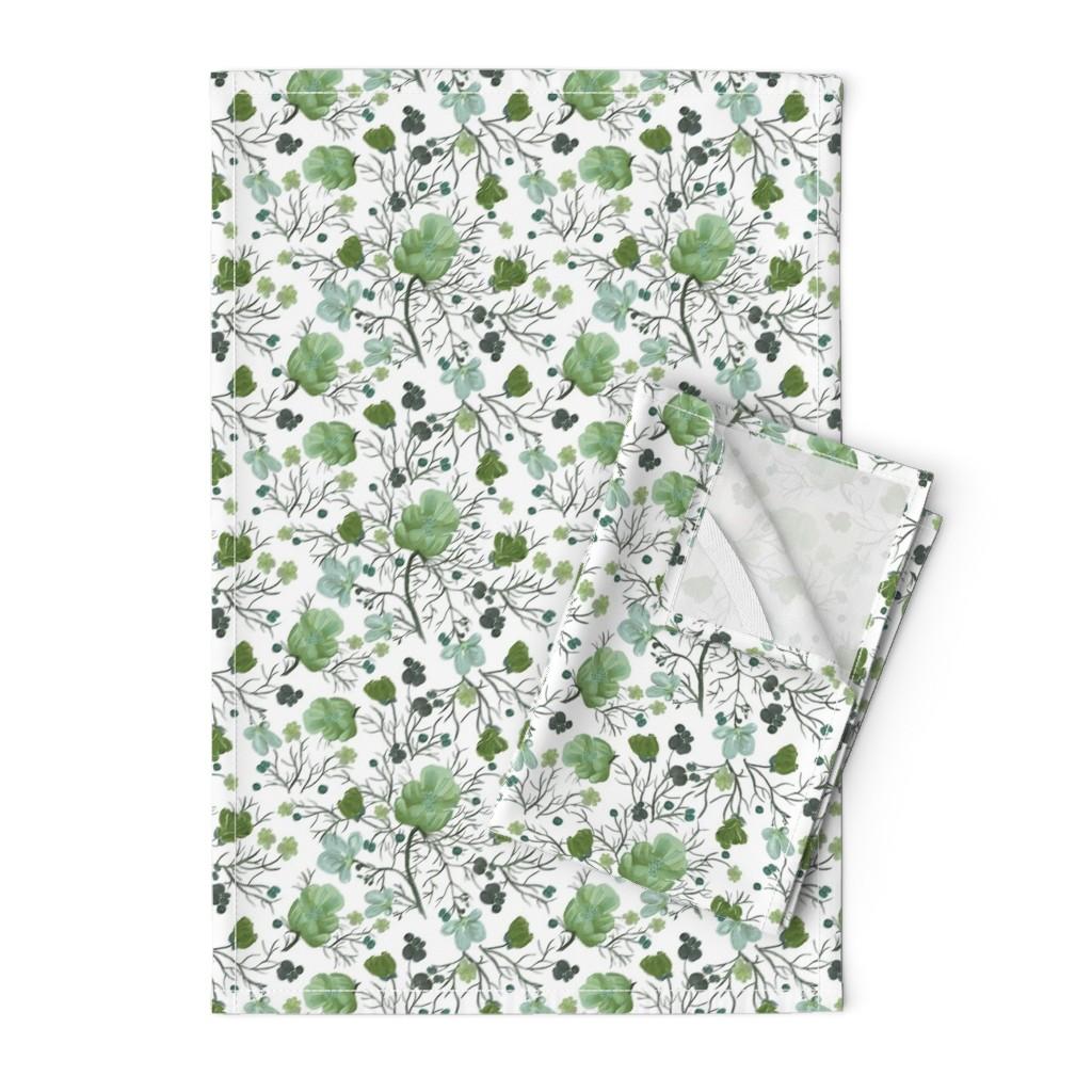 Orpington Tea Towels featuring poppy floral - sage/snow by cinneworthington