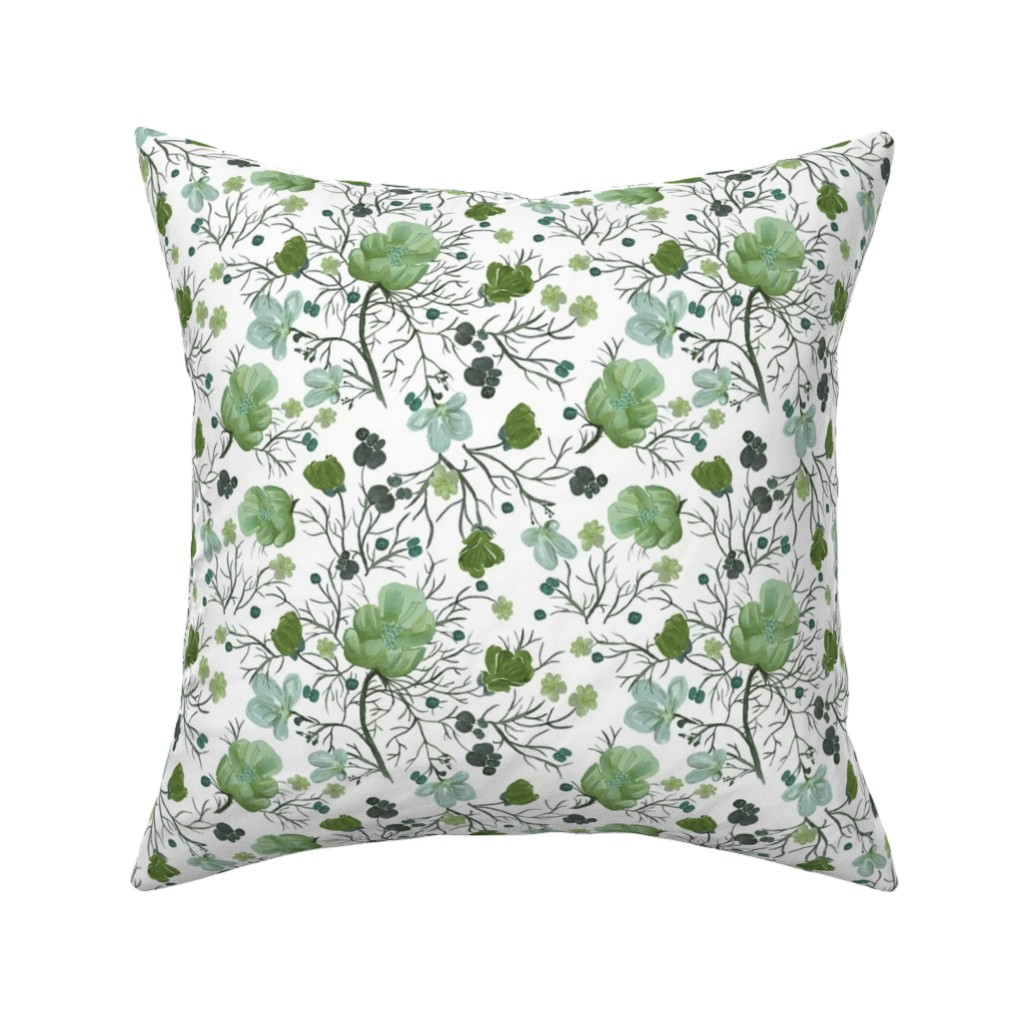 Catalan Throw Pillow featuring poppy floral - sage/snow by cinneworthington
