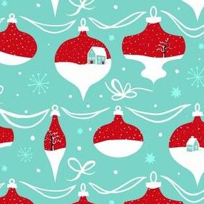 Vintage Snowy Christmas Ornaments