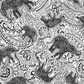 Elephant Paisley - Medium - white and black
