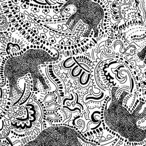 Elephant Paisley - Medium size - Black elephants on white background